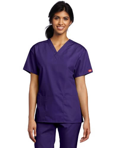 Dickies Women's Classic V-Neck Top - 25 Cheap Scrub Sets for Medical Professionals