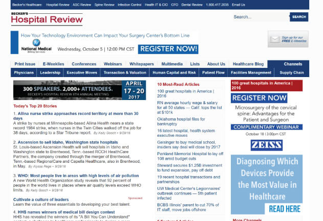 Becker's Hospital Review - Healthcare Blogs