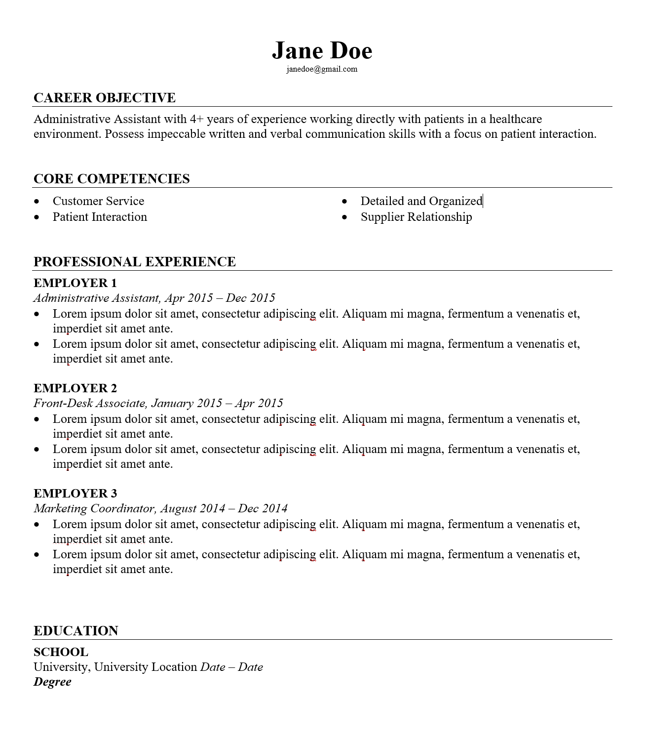 Job Hopping Resume Example - HospitalCareers.com